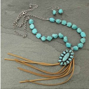 Concho Faux Turquoise Nugget Tassel Necklace Set
